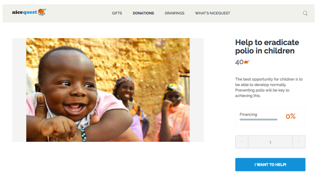 Donations Nicequest: Help to eradicate polio in children